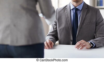 close up of businessman taking money bribe - people,...