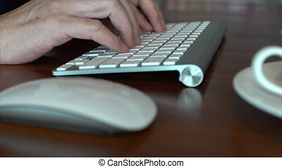 Close Up Of Businessman Typing
