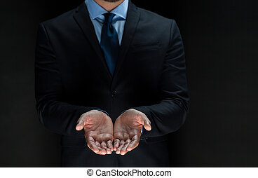 close up of businessman with empty hands