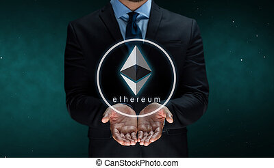 close up of businessman with ethereum over space - ...
