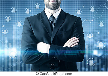 Online business concept - Close up of businessman with...