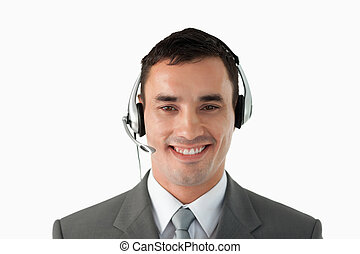 Close up of businessman with headset on