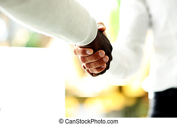 Close-up of businessmen shaking hands, Caucasian and African...