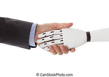 Businessperson Shaking Hands With Robot
