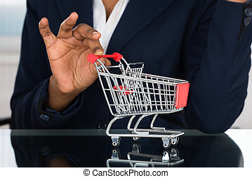 Businesswoman Holding Cart