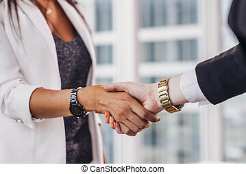Close-up of businesswomen shaking hands greeting each other...