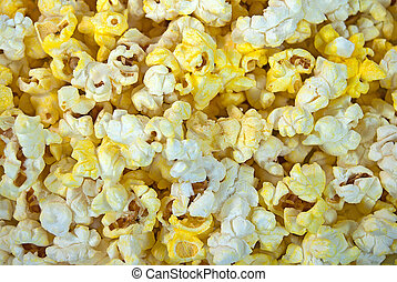 buttery popcorn - Close up of buttery popcorn