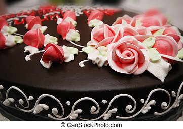 Close up of cake with decoration flowers