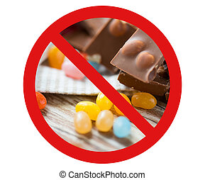 close up of candies and chocolate behind no symbol