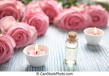 Close-up of candles and flowers - Spa theme with candles and...