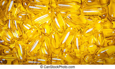 Close up of capsules Omega 3 on white background. Top view, high resolution product. Health care concept.