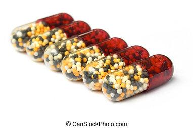 Close up of capsules