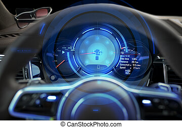 close up of car dashboard and steering wheel - transport,...