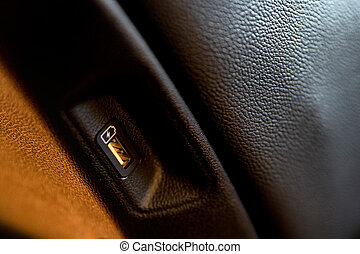 Close up of car interior usb charging cable connection