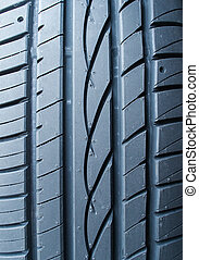 close up of car tyre tread pattern