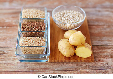 close up of carbohydrate food - diet, cooking, culinary and...
