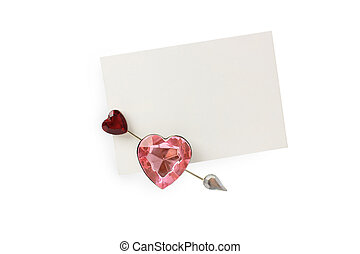 close up of card note with heart o