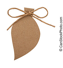 close up of card note with paper ribbon on white background