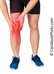 Close up of caucasian man athletic legs feeling knee pain from exercise isolated over white background