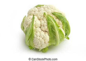 close up of cauliflower isolated on white background