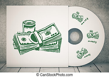 Money concept - Close up of CD cover with creative dollar...