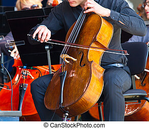 close-up of cellos being played in a concert