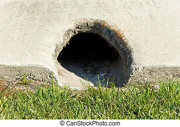 close up of cement drain