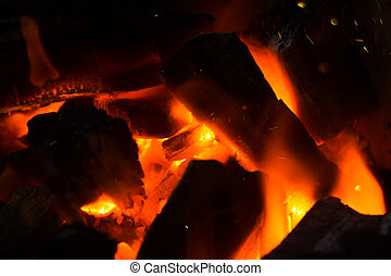 Close up of Charcoal burning.