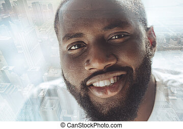 Close up of cheerful African American