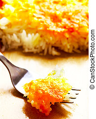 close up of cheese baked rice