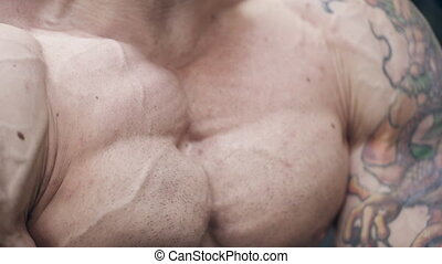 Close-up of chest of an unshaven bodybuilder with muscle...