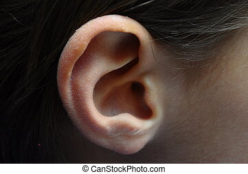 Close up of child ear profile for background