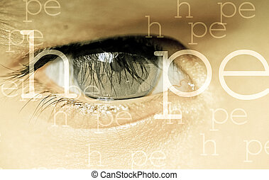 Close up of Child eye, Hope Concept