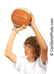 Close up of child throw basketball