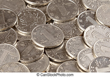 Close up of Chinese 1 Yuan coins background