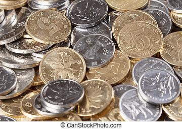 Close up of Chinese 1Miao, 5 Miao, 1 yuan  coins