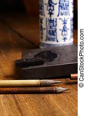 Close up of Chinese Brush, focus on the brush