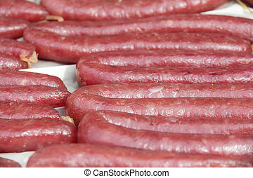 close up of chinese sausage