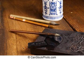 Close up of Chinese Writing Brush