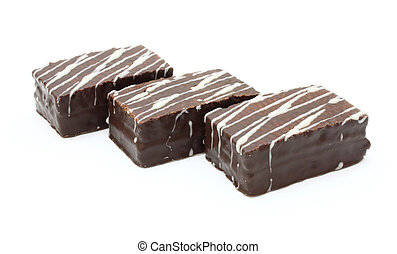 chocolate wafers - close up of chocolate wafers on white ...