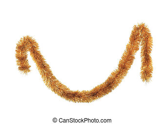 Close up of christmas golden tinsel. Isolated on a white...