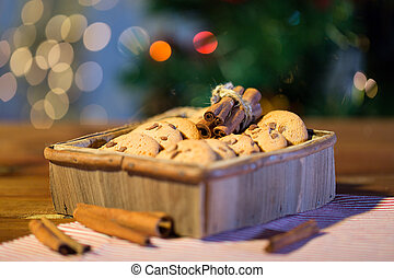 close up of christmas oat cookies on wooden table
