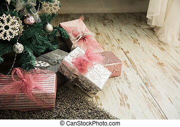 Close-up of Christmas presents under