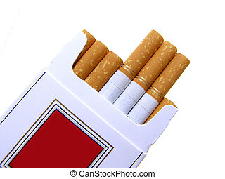 Close-up of cigarette box with filter cigarettes on white background