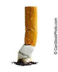 Close up of cigarette on white