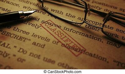 Close up of classified document-top secret
