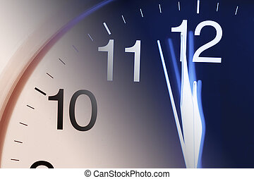 Close-up of Clock Face in Blue and Warm Tone