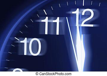 Close-up of Clock Face in Blue Tone