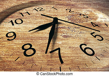 Close Up of Clock with Wooden Texture