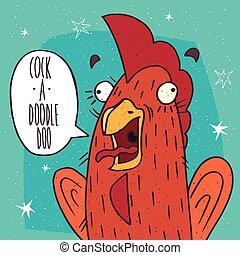 Close-up of cock screaming Cock a doodle doo